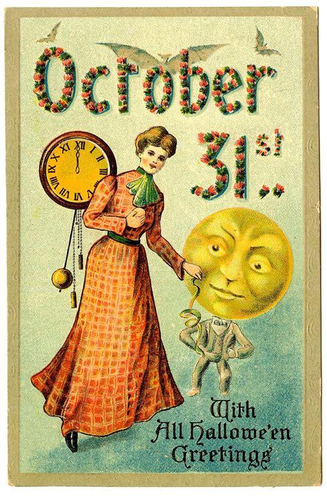vintage halloween graphic woman  moon man