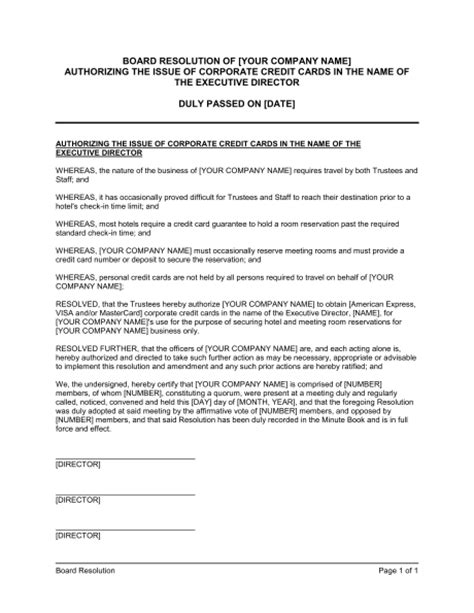 resolution template board resolution authorizing the issue of corporate credit cards template sle form