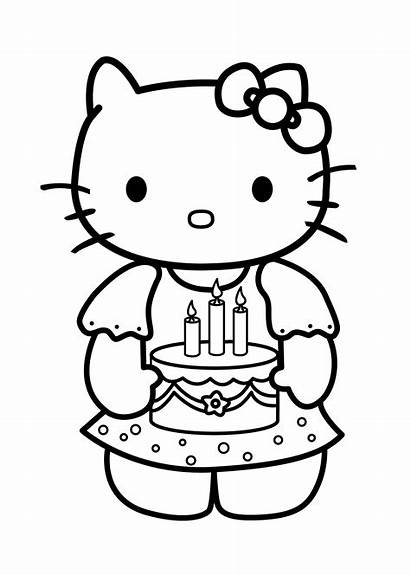 Coloring Kitty Hello Birthday Pages Cake Candles