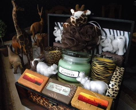 safari gift basket soap  candles zoo african theme gift