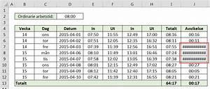 Räkna ut timmar mellan två klockslag i excel