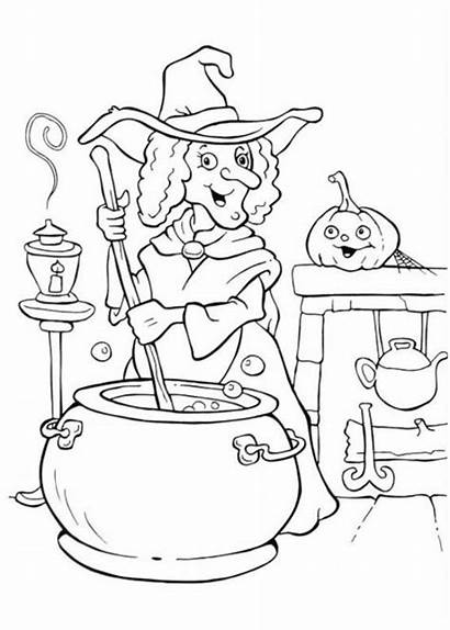 Coloring Halloween Pages Witch Potion Cooking Witches