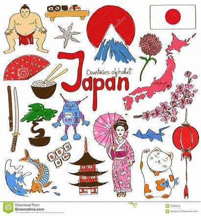 Japan Icons Countries Fun Illustration Alphabet Sketch