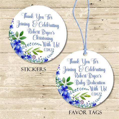Boys Blue Baby Dedication Favor Tags or Sticker Labels