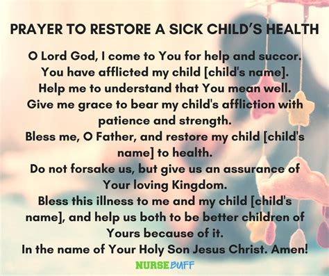 prayer quotes for sick child