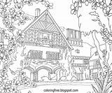 Coloring Pages Garden Drawing Complicated Landscape Adults Flower Para Colouring Adult Printable Sheets Trees Driveway Figuras Pintar Country Plicated Fresh sketch template