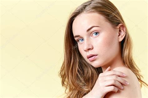 Pretty Redhead Teenager Girl With Blue Eyes And Freckles