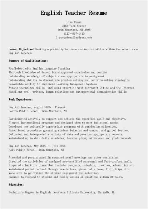 resume samples english teacher resume sample