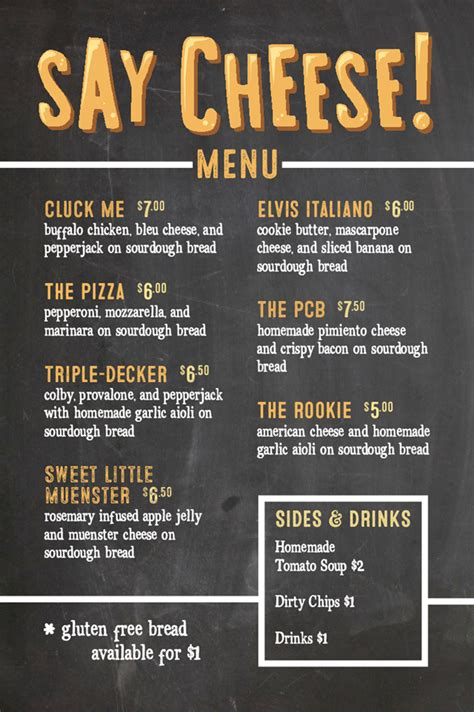 Say Cheese Food Truck Our Menu