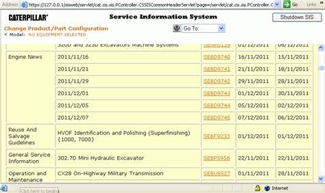 caterpillar sis service information system  software