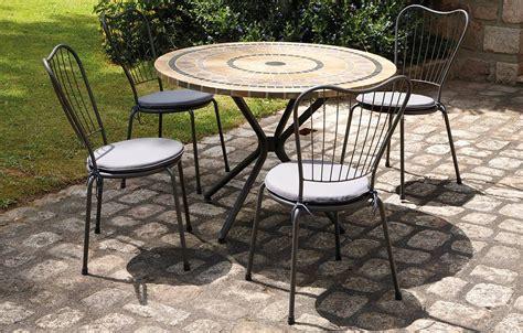 table de jardin mosaique ronde en 4 chaises
