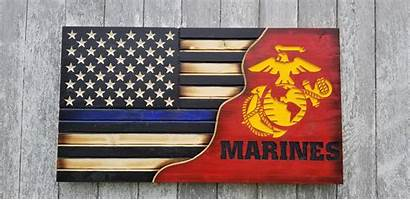 Line Thin Marine Corps Flag Split Series