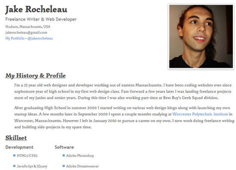 Resume Using Html by 25 Free Html Resume Templates For Your Successful