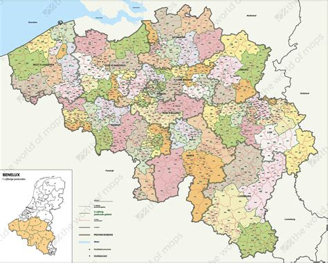 Digital Postcode Map Belgium 2-4 Digits 1389