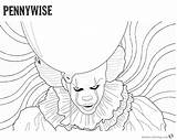 Pennywise Coloring Clown Pages Psychedelic Printable Background Drawing Outline Stephen Print Drawings Penny Adults Sketch Kings Wise Getcolorings Designs Paintingvalley sketch template