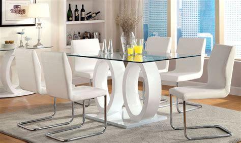 lodia  white glass top rectangular pedestal dining room