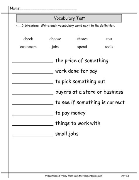 images  vocabulary word  definition worksheet