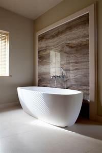 bathroom feature wall with bath tub bathroom contemporary