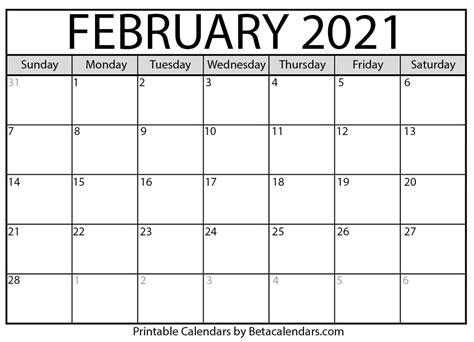 Get February Calendar 2021 Printable With Holidays  Pictures