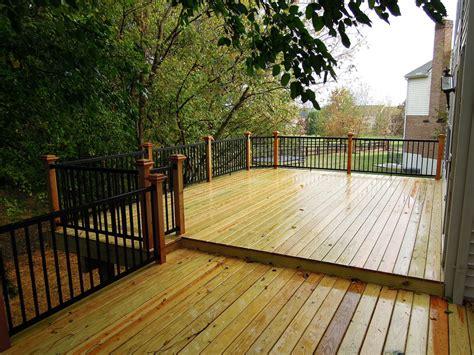 custom wood deck w cedar aluminum railing west chester