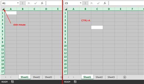 select cells rows columns