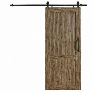 pinecroft 36 in x 84 in millbrooke weathered grey pvc With 36 inch barn door hardware