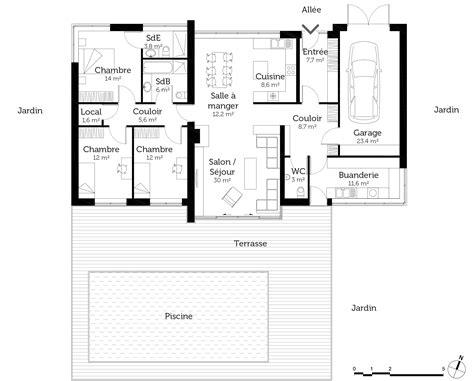 Plan Maison Moderne 3 Chambres by Plan Maison Contemporaine De Plain Pied Avec 3 Chambres