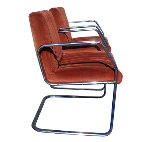 2 vintage mid century modern velour chrome chairs ebay