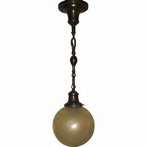 Victorian pendant light deep etched ball shade on