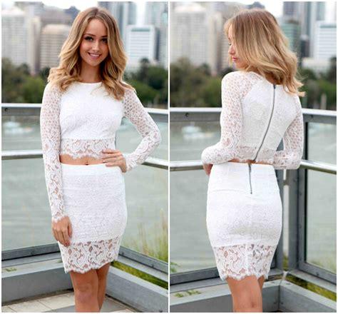 Long Sleeve White Lace Two Piece Dress Set Luulla