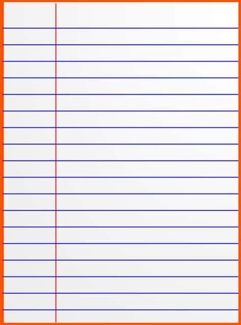 Notebook Paper Template For Word