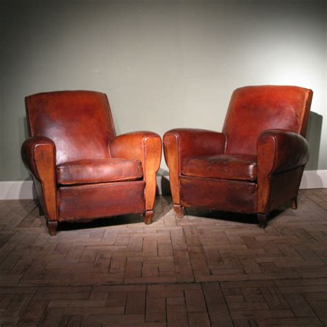 pair of antique leather club chairs leather