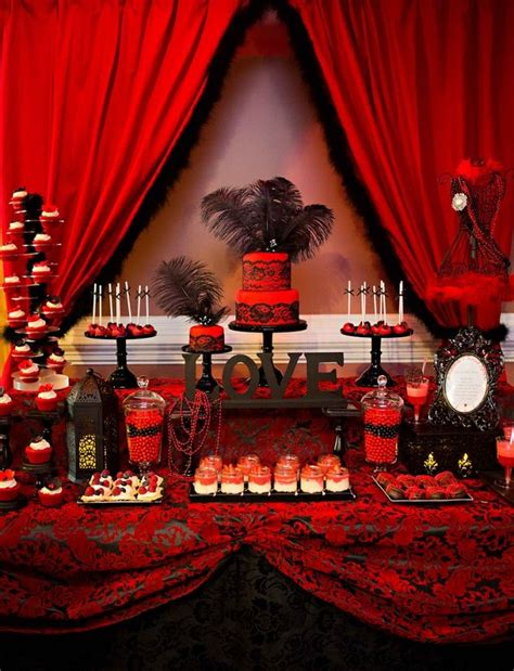 red and black table ls red and black bridal shower dessert table http