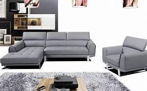 Canape Cuir Gris : photos canap angle cuir gris ~ Teatrodelosmanantiales.com Idées de Décoration