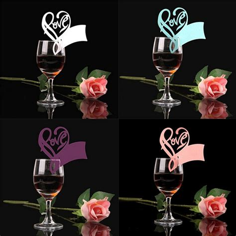 wine glass placement on table new 50pcs paper laser cut love heart table name place