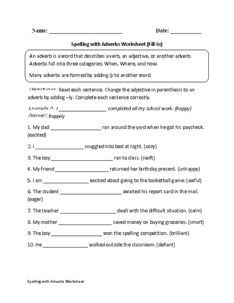 adverbs worksheets spelling with adverbs worksheets