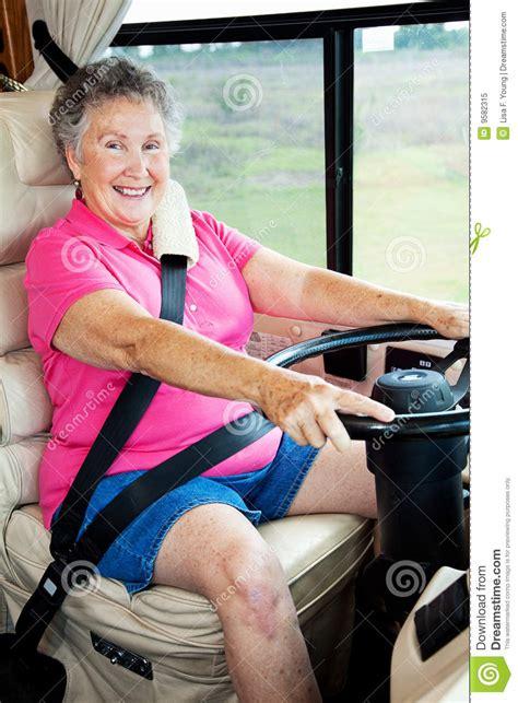 rv senior lady driver royalty  stock photo image