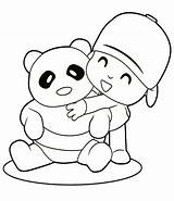 Coloring Panda Baby Bear Pages Cute Printable Pocoyo Sheet Colouring Characters Cartoon Boy Doll Fu Kung Friend Bears Hugging Christmas sketch template