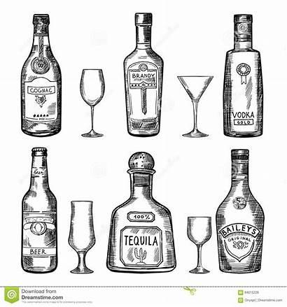 Bottle Drawing Bottles Tequila Alcohol Sketch Hard