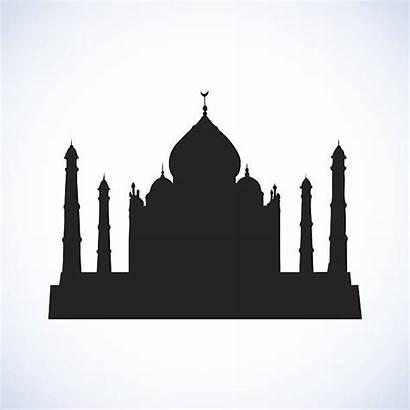 Temple Hindu Clipart Silhouette Vector Mahal Taj