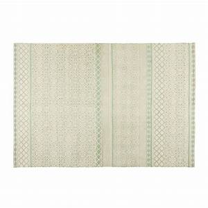 tapis en coton vert d39eau 200x140cm boheme maisons du monde With tapis en coton