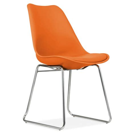 orange dining chair with soft pad seat restaurant chairs