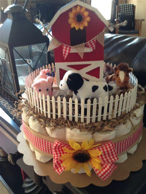 Farm Themed Diaper Cake  Farm Themed Baby Shower