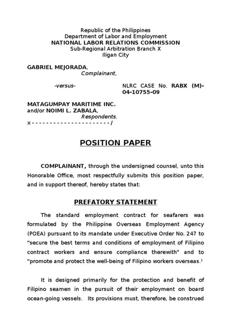 The body of the position paper may contain several paragraphs. Position Paper Example Philippines - Position Paper Sample ...