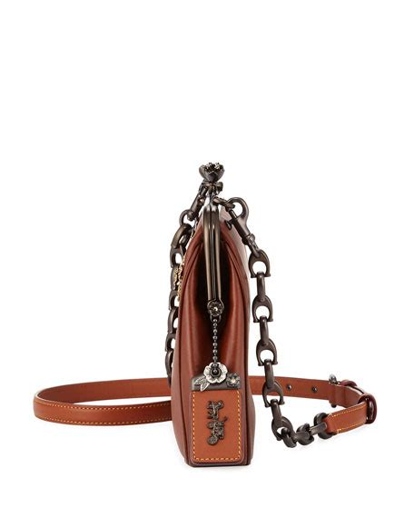 coach  crystal embellished kiss lock crossbody bag neiman marcus