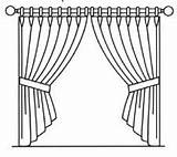 Curtain Curtains Pages Window Sketch Template Close Pole Hand Drawn Coloring Arrangements Forms Common Hooks Theater sketch template