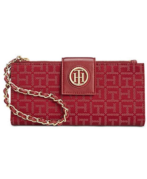 tommy hilfiger monogram jacquard wristlet wallet handbags accessories macys