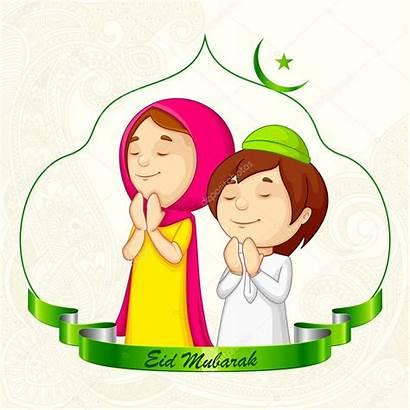 Eid Muslim Clipart Mubarak Praying Vector Offering