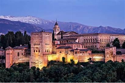 Spain Alhambra Granada Malaga Night Mountains Castle