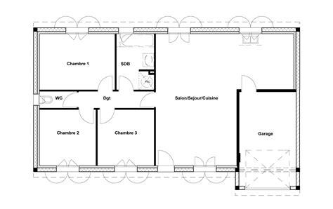 plan maison rdc 3 chambres supérieur plan maison 3 chambres 8 plan rdc